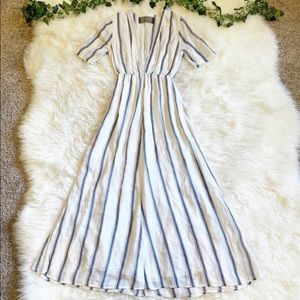 Reformation Blue Striped Maxi Dress V Neck Split
